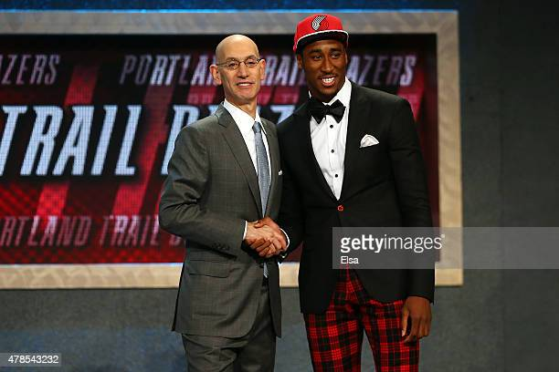 Rondae HollisJefferson meets Commissioner Adam Silver after being selected 23rd overall by the Portland Trail Blazers in the First Round of the 2015...