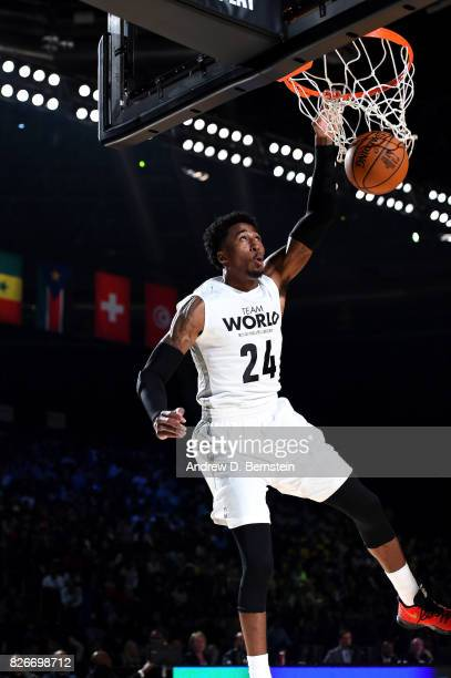 Rondae HollisJefferson of Team World dunks the ball against Team Africa in the 2017 Africa Game as part of the Basketball Without Borders Africa at...