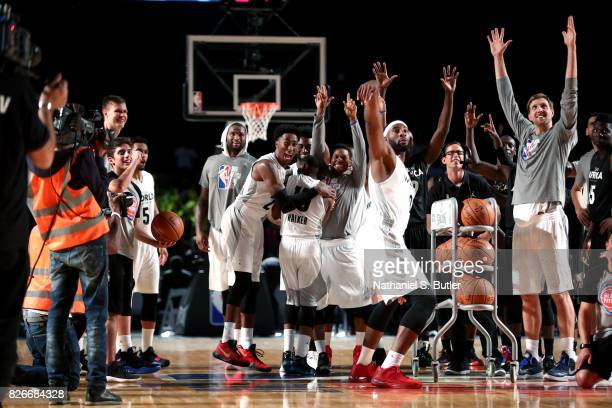 Rondae HollisJefferson of Team World reacts as Andre Drummond shoots the ball against Team Africa in the 2017 Africa Game as part of the Basketball...