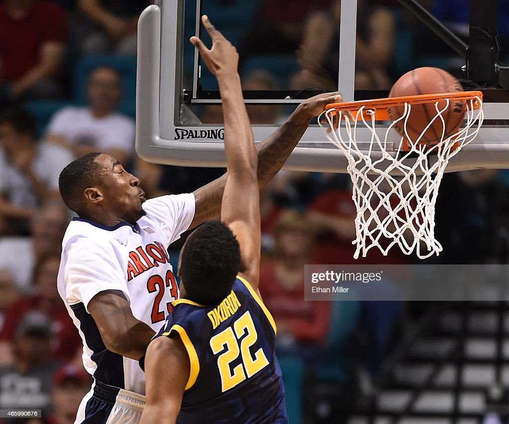 Rondae Hollis-Jefferson #23 of the Arizona Wildcats dunks against Kingsley Okoroh #22 of the California Golden Bears during a quarterfinal game of the Pac-12 Basketball Tournament at the MGM Grand Garden Arena on March 12, 2015 in Las Vegas, Nevada.