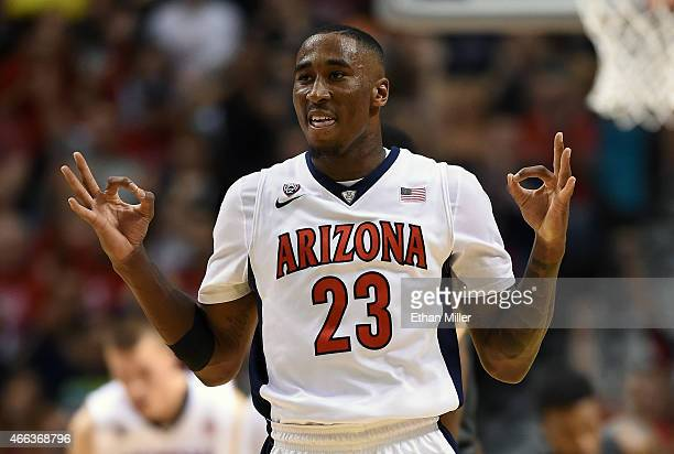 Rondae HollisJefferson of the Arizona Wildcats reacts after hitting a 3pointer against the Oregon Ducks during the championship game of the Pac12...