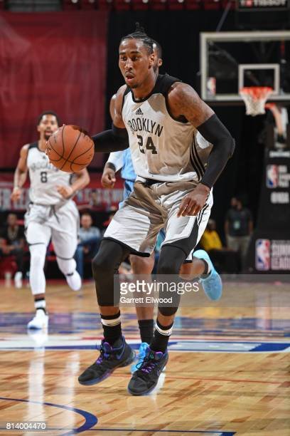 Rondae HollisJefferson of the Brooklyn Nets dribbles the ball against the Denver Nuggets during the 2017 Las Vegas Summer League game on July 13 2017...