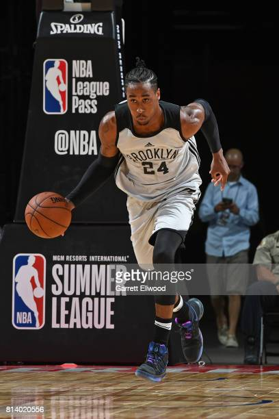 Rondae HollisJefferson of the Brooklyn Nets dribbles the ball up court against the Denver Nuggets during the 2017 Las Vegas Summer League game on...