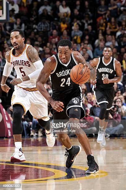 Rondae HollisJefferson of the Brooklyn Nets dribbles up the court during the game against the Cleveland Cavaliers on November 28 2015 at Quicken...