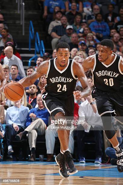 Rondae HollisJefferson of the Brooklyn Nets drives to the basket against the Oklahoma City Thunder during the game on November 25 2015 at Chesapeake...