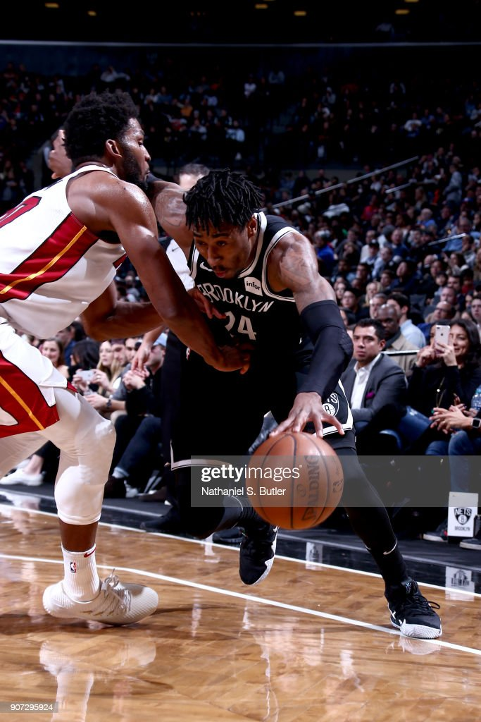 Rondae Hollis-Jefferson #24 of the Brooklyn Nets drives to the basket against the Miami Heat on January 19, 2018 at Barclays Center in Brooklyn, New York.