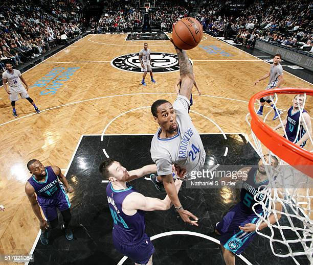 Rondae HollisJefferson of the Brooklyn Nets goes for the dunk against the Charlotte Hornets during the game on March 22 2016 at Barclays Center in...