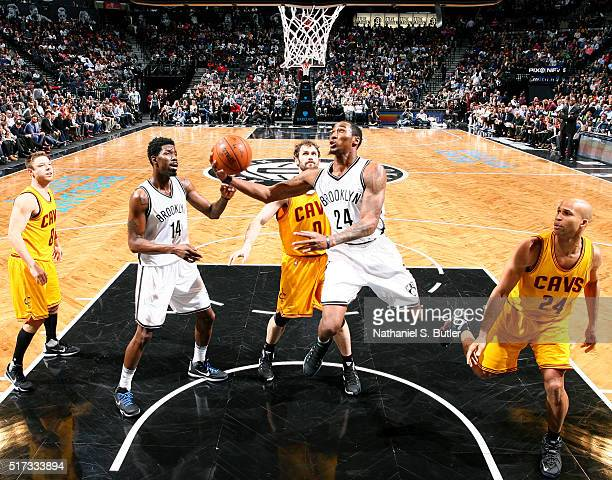 Rondae HollisJefferson of the Brooklyn Nets goes for the layup against the Cleveland Cavaliers during the game on March 24 2016 at Barclays Center in...
