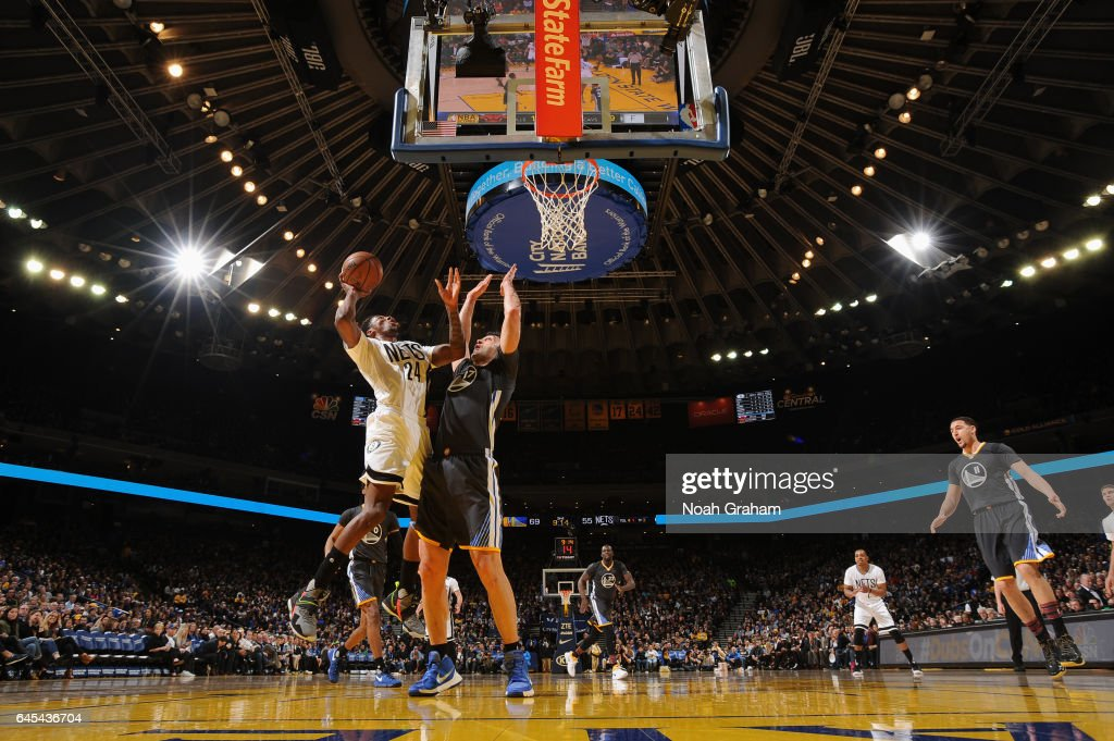 Rondae Hollis-Jefferson #24 of the Brooklyn Nets goes to the basket against the Golden State Warriors on February 25, 2017 at ORACLE Arena in Oakland, California.
