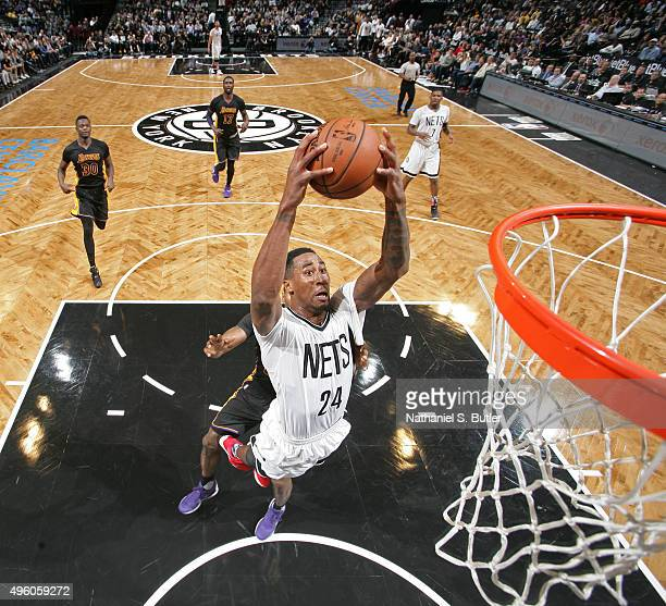 Rondae HollisJefferson of the Brooklyn Nets grabs a rebound against the Los Angeles Lakers on November 6 2015 at Barclays Center in Brooklyn New York...