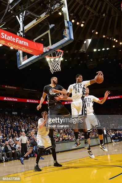 Rondae HollisJefferson of the Brooklyn Nets grabs the rebound against the Golden State Warriors on February 25 2017 at ORACLE Arena in Oakland...
