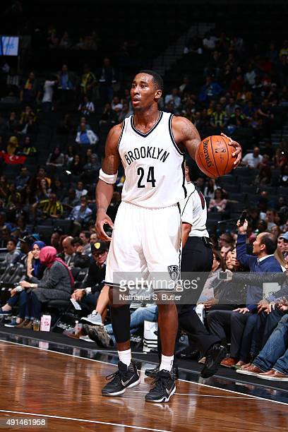 Rondae HollisJefferson of the Brooklyn Nets handles the ball against Fenerbahce during a preseason game on October 5 2015 at Barclays Center in...