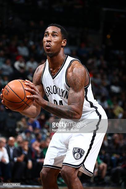 Rondae HollisJefferson of the Brooklyn Nets shoots a free throw against the Boston Celtics on November 22 2015 at Barclays Center in Brooklyn New...