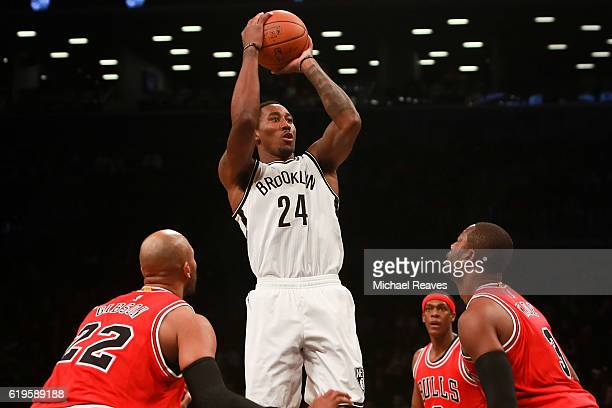 Rondae HollisJefferson of the Brooklyn Nets shoots a jumper against the Chicago Bulls during the first half at Barclays Center on October 31 2016 in...