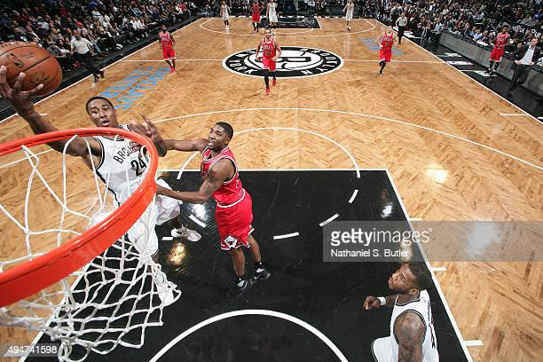 Rondae HollisJefferson of the Brooklyn Nets shoots the ball against the Chicago Bulls on October 28 2015 at Barclays Center in Brooklyn New York NOTE...