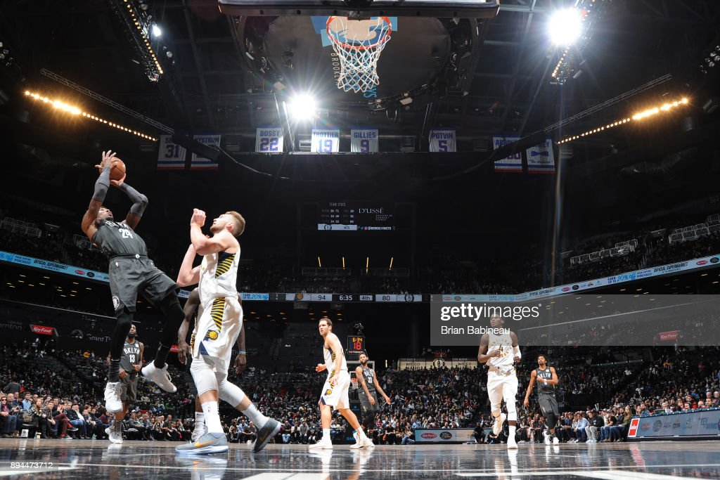 Rondae Hollis-Jefferson #24 of the Brooklyn Nets shoots the ball against the Indiana Pacers on December 17, 2017 at Barclays Center in Brooklyn, New York.