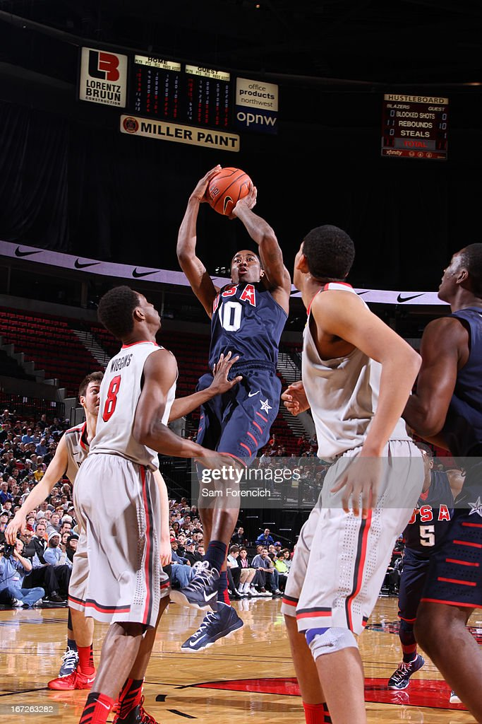 Rondae Hollis-Jefferson #10 of the USA Junior Select Team shoots against <a gi-track='captionPersonalityLinkClicked' href=/galleries/search?phrase=Andrew+Wiggins&family=editorial&specificpeople=7720937 ng-click='$event.stopPropagation()'>Andrew Wiggins</a> #8 of the World Select Team during the 2013 Nike Hoop Summit game on April 20, 2013 at the Rose Garden Arena in Portland, Oregon.