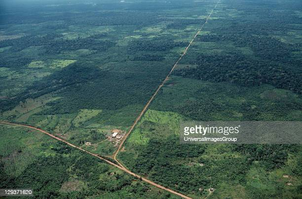 Rondonia Aerial view over deforestation and development along new roads