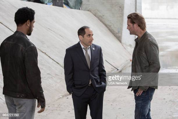 COLONY 'Ronin' Episode 213 Pictured Tory Kittles as Broussard Peter Jacobson as Proxy Alan Snyder Josh Holloway as Will Bowman