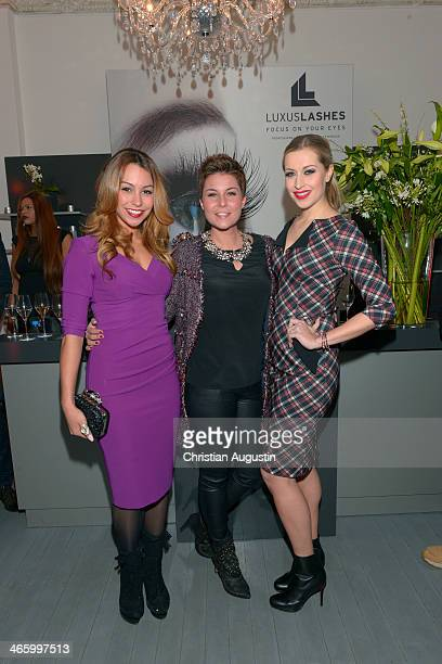 Ronja Hilbig Vanessa Blumhagen and Verena Kerth attend opening of the first LuxusLashes Lounge in Hamburg on January 30 2014 in Hamburg Germany