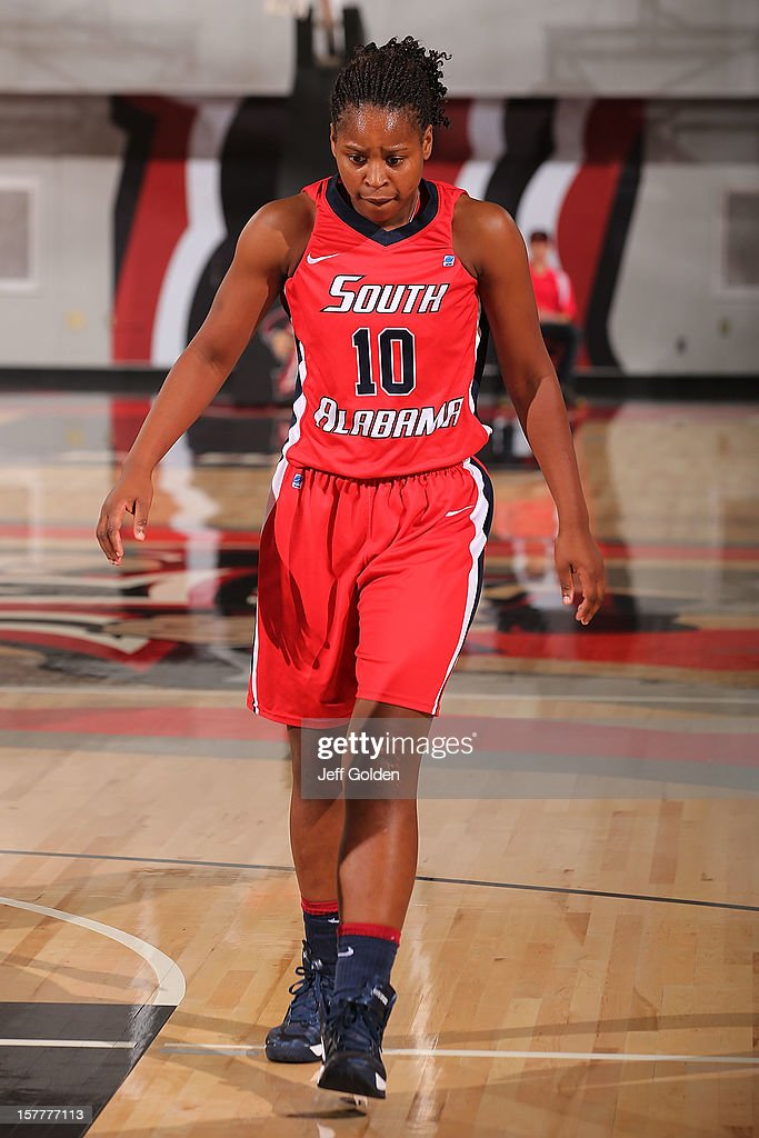 Ronneka Robertson #10 of the South Alabama Jaguars walks up the court against the Detroit Titans at The Matadome on November 24, 2012 in Northridge, California. South Alabama defeated Detroit 59-56.