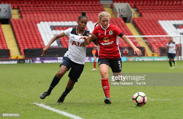 Ronnell Humes of Tottenham and Kelsey Pearson of Blackburn in action during the FA Women's Premier League Playoff Final between Tottenham Hotspur...