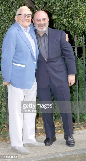 Ronnie Barker Bob Hoskins during 2001 Annual Summer Party Hosted Sir David Frost at Chelsea in London Great Britain