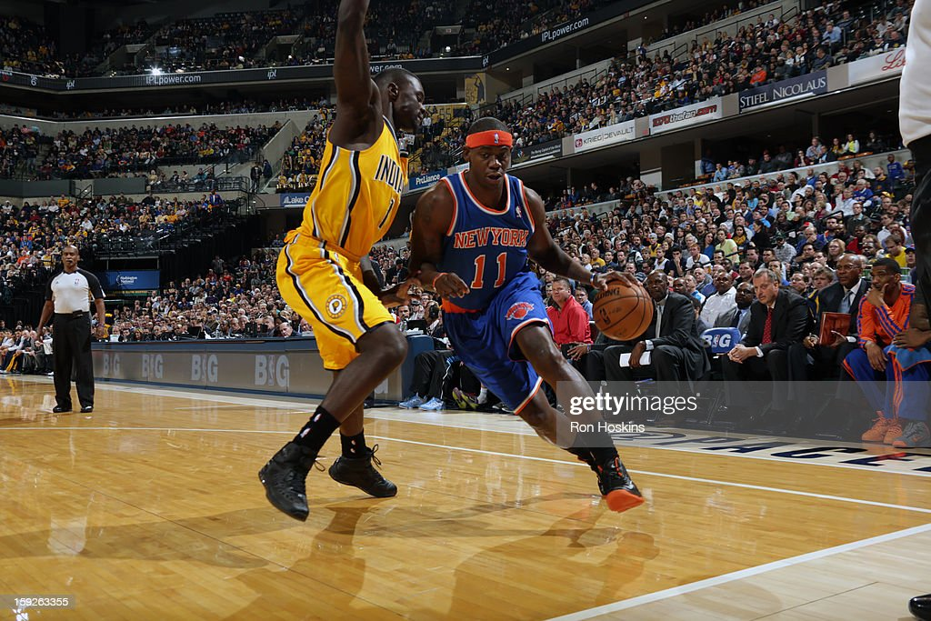 Ronnie Brewer #11 of the New York Knicks drives baseline against Lance Stephenson #1 of the Indiana Pacers on January 10, 2013 at Bankers Life Fieldhouse in Indianapolis, Indiana.