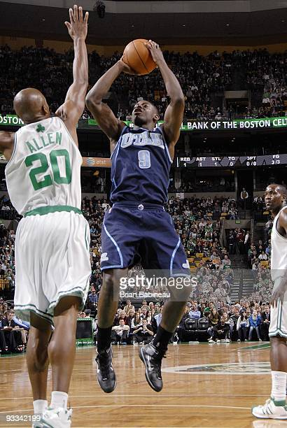 Ronnie Brewer of the Utah Jazz shoots a jumper against Ray Allen of the Boston Celtics during the game at The TD Garden on November 11 2009 in Boston...
