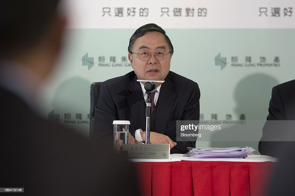 Ronnie Chan, chairman of Hang Lung Properties Ltd., speaks during a news conference in Hong Kong, China, on Thursday, Jan. 31, 2013. Hang Lung, the Hong Kong developer investing more than $8.5 billion building malls in mainland China, said 2012 underlying profit almost doubled after the company sold more properties in the city. Photographer: Jerome Favre/Bloomberg via Getty Images