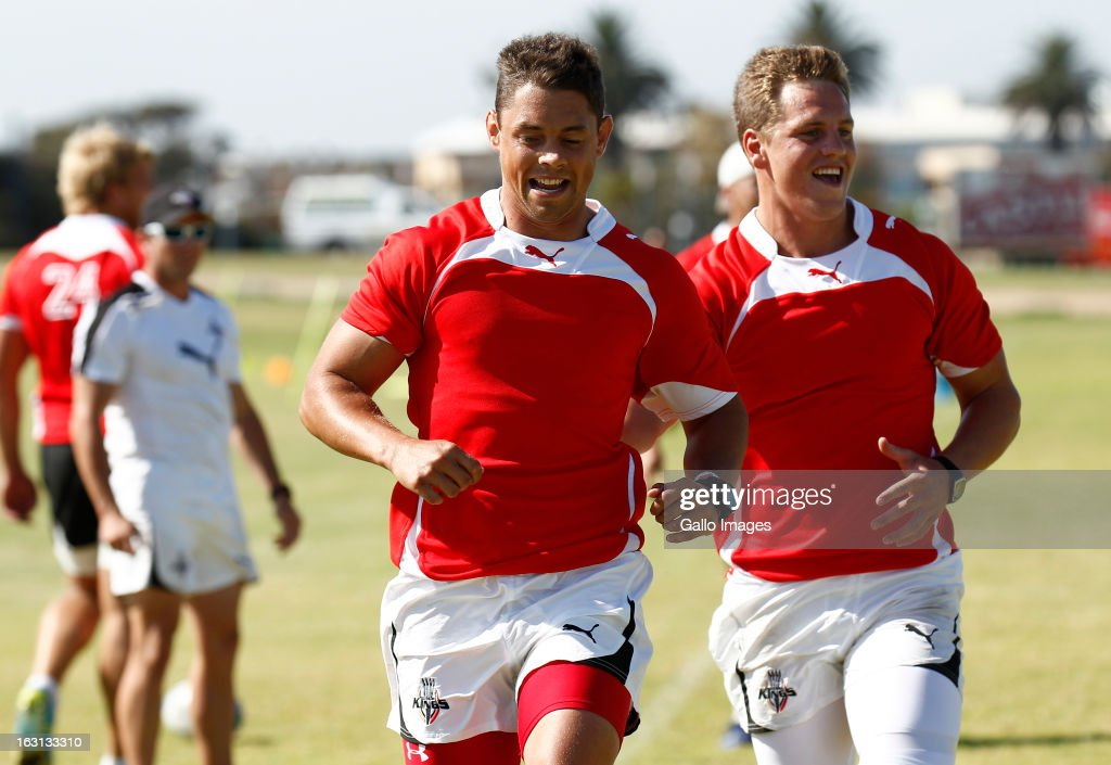 Ronnie Cooke (L) and SP Marais (R) during a Southern Kings training session at Nelson Mandela Bay Stadium on March 05, 2013 in Port Elizabeth, South Africa.