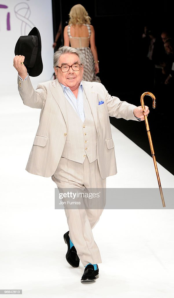 Ronnie Corbett on the catwalk at the Fashion for Relief show for London Fashion Week Autumn/Winter 2010 at Somerset House on February 18 2010 in...
