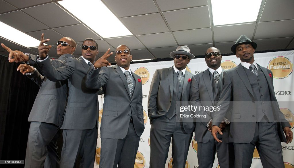 Ronnie DeVoe, Johnny Gill, Mike Bivins, Bobby Brown, Ricky Bell and Ralph Tresvant of New Edition visit the Press Room during the 2013 Essence Festival at the Mercedes-Benz Superdome on July 6, 2013 in New Orleans, Louisiana.