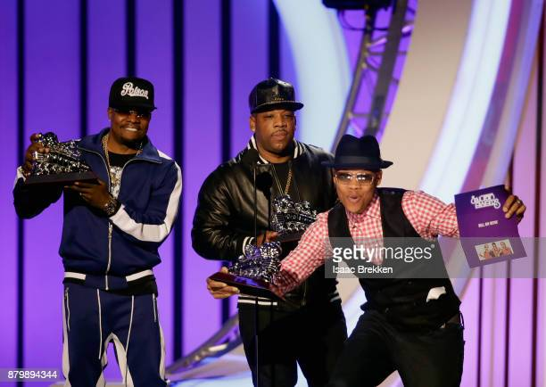 Ronnie DeVoe Michael Bivins and Ricky Bell of Bell Biv DeVoe accept the Soul Train Certified Award onstage at the 2017 Soul Train Awards presented by...