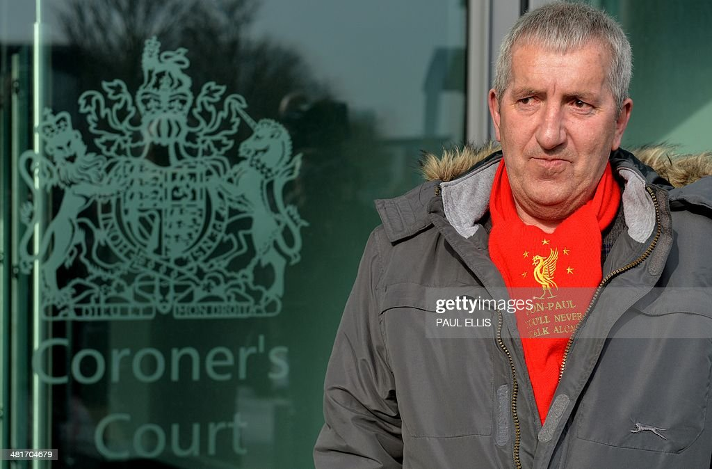 Ronnie Gilhooley, whose 10-year-old son Jon-Paul Gilhooley, cousin of Liverpool captain Steven Gerrard, died in the 1989 Hillsborough disaster, arrives to attend the opening day of the new inquests into the deaths of the 96 football supporters who died in the disaster at a specially commissioned Coroner's Court in Warrington, northwest England, on March 31, 2014. Fresh inquests into the 1989 Hillsborough disaster, in which 96 football supporters were crushed to death, began on March 31 after the initial verdicts were quashed amid claims of a police cover-up. The families of Liverpool supporters who died in Britain's worst sporting disaster will gather in the purpose-built court after a two-decade fight to overturn the accidental death verdicts handed down at the initial 1991 inquiry.