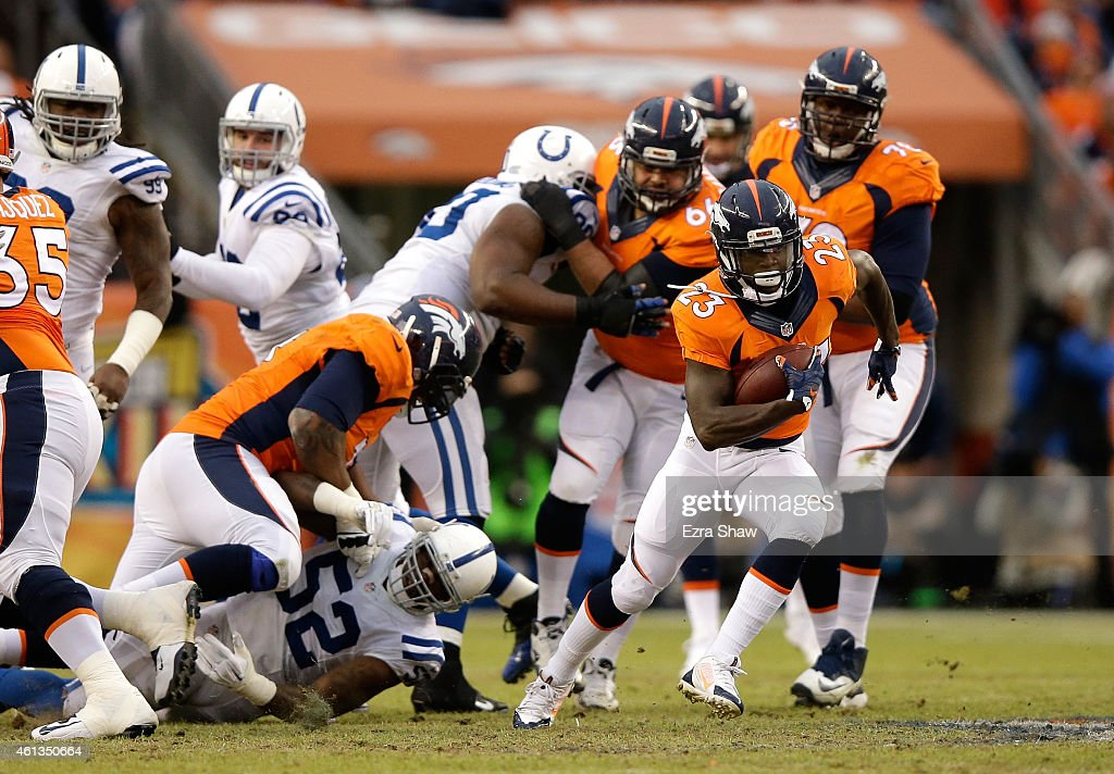 Ronnie Hillman of the Denver Broncos carries the ball against the Indianapolis Colts during a 2015 AFC Divisional Playoff game at Sports Authority...