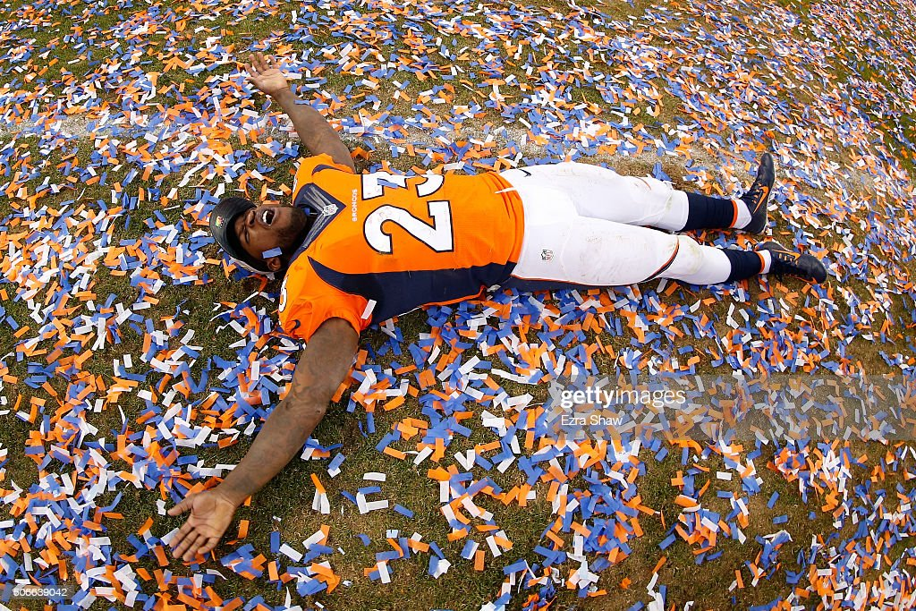 Ronnie Hillman of the Denver Broncos celebrates after defeating the New England Patriots in the AFC Championship game at Sports Authority Field at...