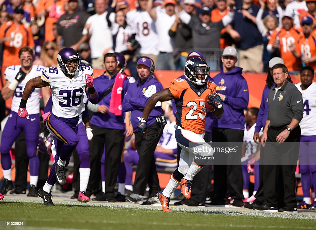 Ronnie Hillman of the Denver Broncos completes a 72yard touchdown run The Denver Broncos played the Minnesota Vikings at Sports Authority Field at...