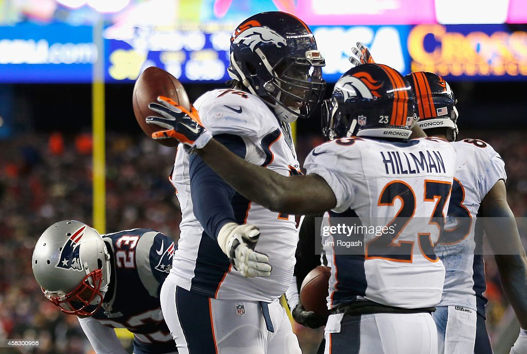 <a gi-track='captionPersonalityLinkClicked' href=/galleries/search?phrase=Ronnie+Hillman&family=editorial&specificpeople=7355403 ng-click='$event.stopPropagation()'>Ronnie Hillman</a> #23 of the Denver Broncos reacts after scoring a touchdown during the third quarter against the New England Patriots at Gillette Stadium on November 2, 2014 in Foxboro, Massachusetts.