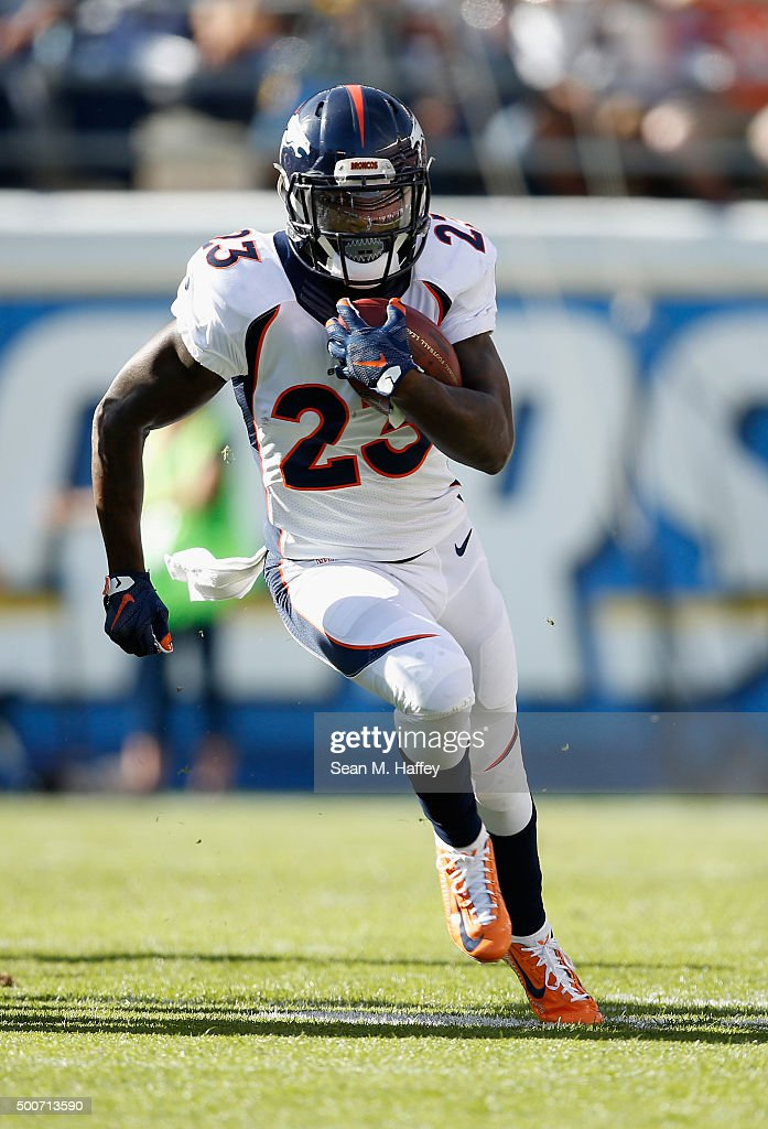 Ronnie Hillman of the Denver Broncos runs with the ball during a game agains the San Diego Chargers at Qualcomm Stadium on December 6 2015 in San...