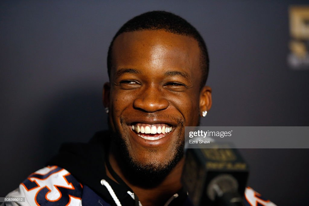 <a gi-track='captionPersonalityLinkClicked' href=/galleries/search?phrase=Ronnie+Hillman&family=editorial&specificpeople=7355403 ng-click='$event.stopPropagation()'>Ronnie Hillman</a> #23 of the Denver Broncos speaks to the media during the Broncos media availability for Super Bowl 50 at the Stanford Marriott on February 4, 2016 in Santa Clara, California. The Broncos will play the Carolina Panthers in Super Bowl 50 on February 7, 2016.