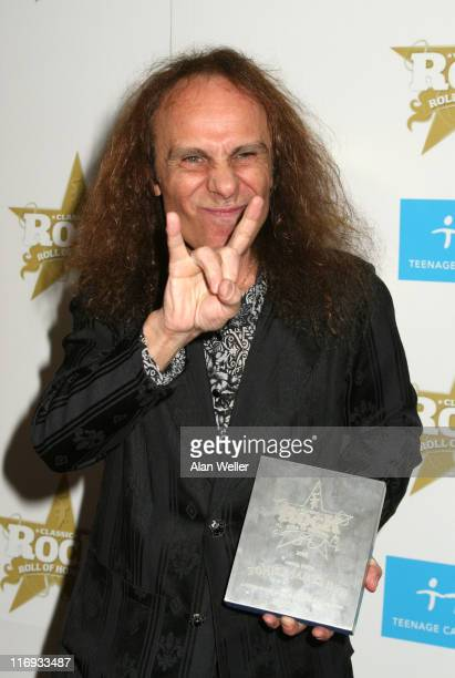 Ronnie James Dio during Classic Rock and Roll Honours Press Room at Langham Hotel in London Great Britain