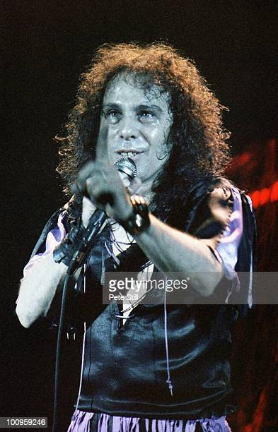 Ronnie James Dio of DIO performs on stage at Hammersmith Odeon on October 4th 1984 in London England