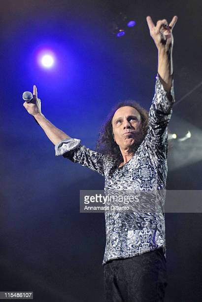 Ronnie James Dio of Heaven and Hell during Heaven and Hell Live World Tour 2007 at Los Angeles Forum in Los Angeles CA United States