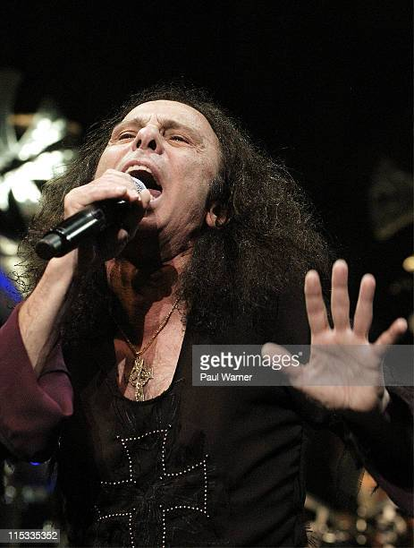 Ronnie James Dio of Heaven and Hell during Heaven and Hell Tour in Detroit May 12 2007 at Cobo Arena in Detroit Michigan United States
