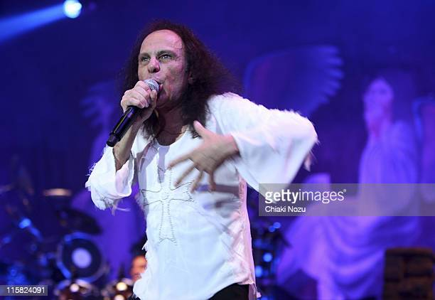 Ronnie James Dio of the band Heaven and Hell during a performance at Wembley Arena on November 10 2007 in London England
