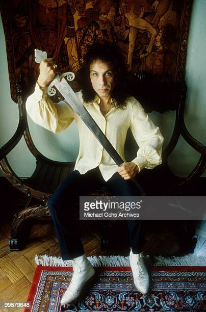 Ronnie James Dio poses for a portrait in 1987 in Los Angeles California