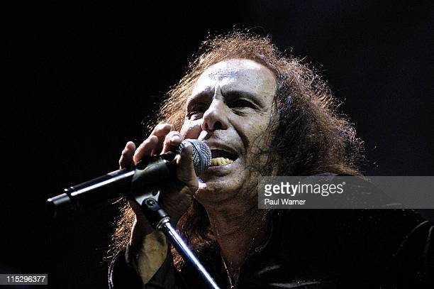 Ronnie James Dio singer of Heaven and Hell performs with the band during the 2008 Masters of Metal Tour at the First Midwest Bank Amphitheater on...