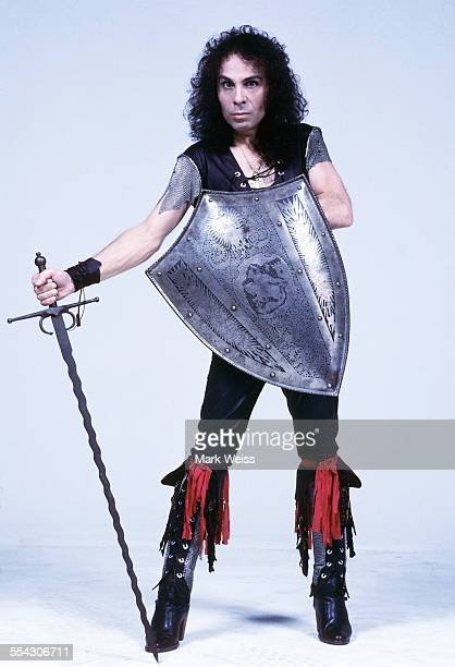Ronnie James Dio studio portrait with sword and shield United States 1985