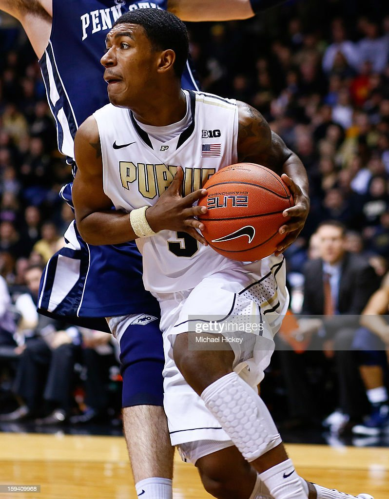 Ronnie Johnson #3 of the Purdue Boilermakers takes the ball to the hoop against the Penn State Nittany Lions at Mackey Arena on January 13, 2013 in West Lafayette, Indiana.